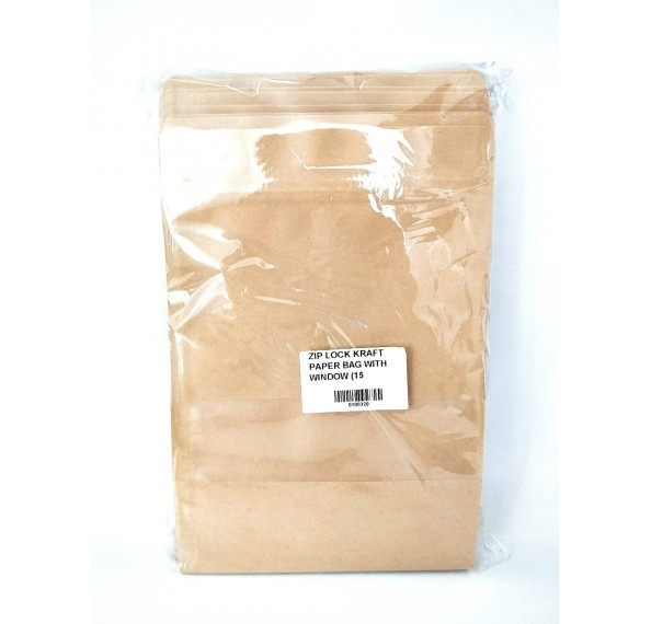 Kraft Paper Bag + Window (15*22+4) 50PC