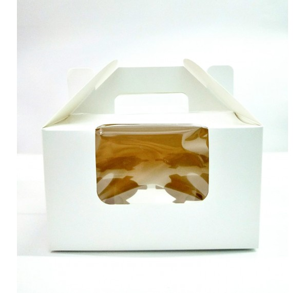 4 Hole Cupcake Box White With Handle (Window)
