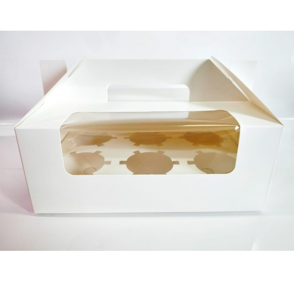6 Hole Cupcake Box White With Handle (Window)