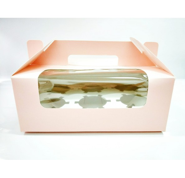 6 Hole Cupcake Box Pink With Handle (Window)