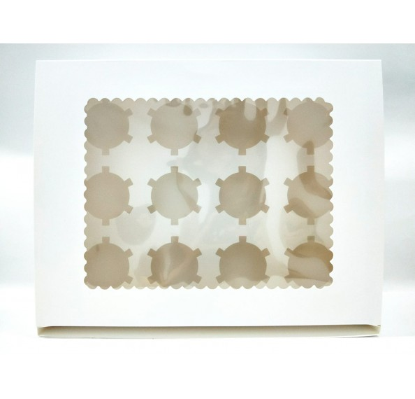 12 Hole Cupcake Box White (Window)