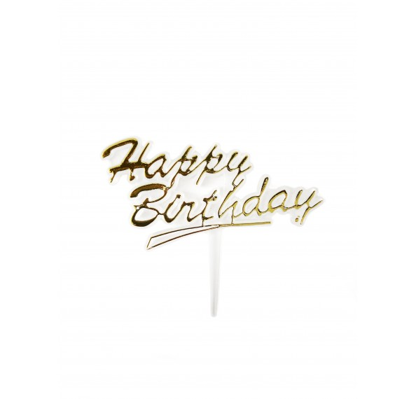 Cake Topper Gold Clear Happy Birthday 25pcs