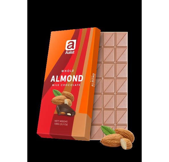 Aalst Whole Almond Milk Chocolate Bar 100g