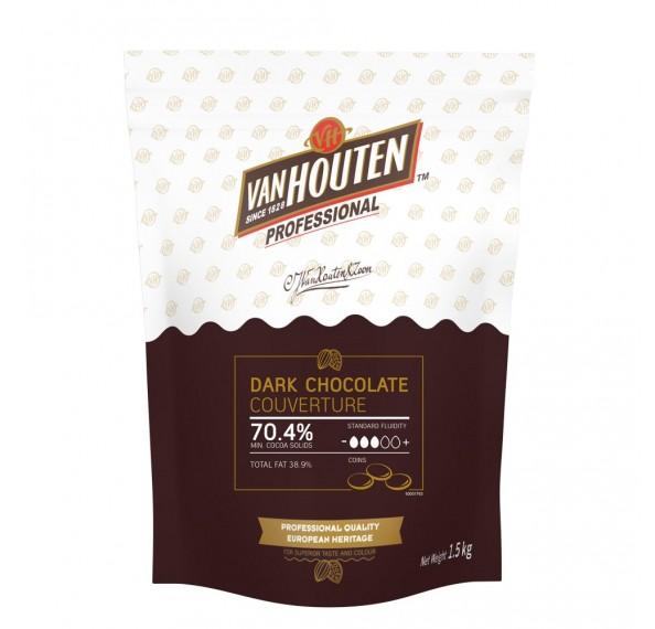 Van Houten Dark Couverture Choc Callets 70.4% 1.5kg