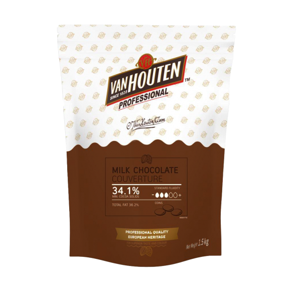 Van Houten Milk Couverture Choc Callets 34.1% 1.5kg